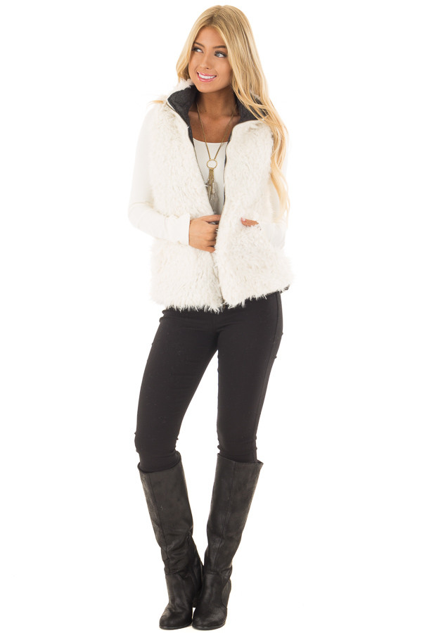 Charcoal Reversible Quilted and Faux Fur Vest front full body