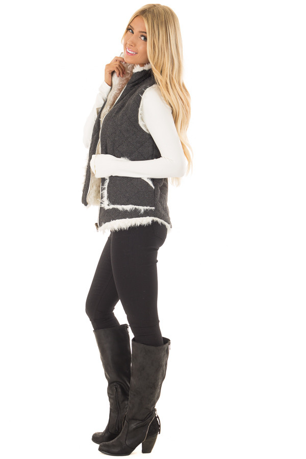 Charcoal Reversible Quilted and Faux Fur Vest side full body