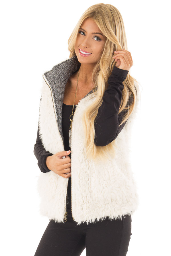 Heather Grey Two Tone Reversible Quilted and Faux Fur Vest front close up