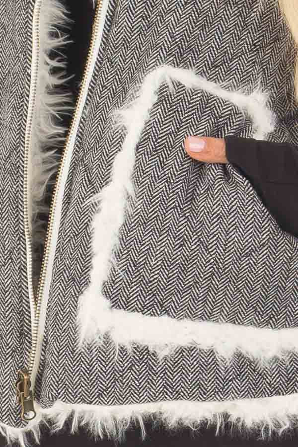 Heather Grey Two Tone Reversible Quilted and Faux Fur Vest detail