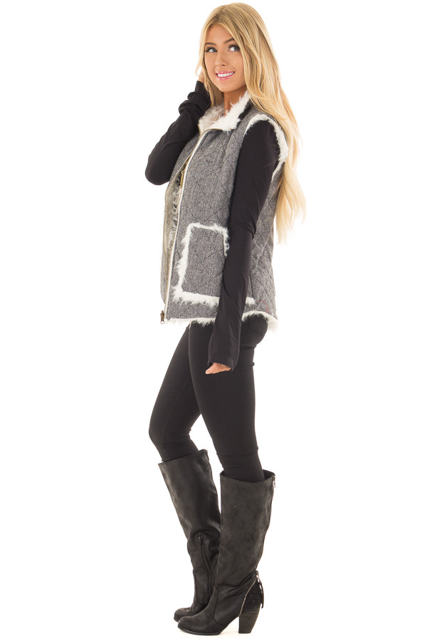 Heather Grey Two Tone Reversible Quilted and Faux Fur Vest side full body