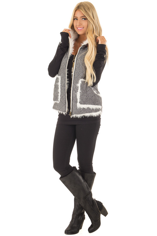 Heather Grey Two Tone Reversible Quilted and Faux Fur Vest front full body