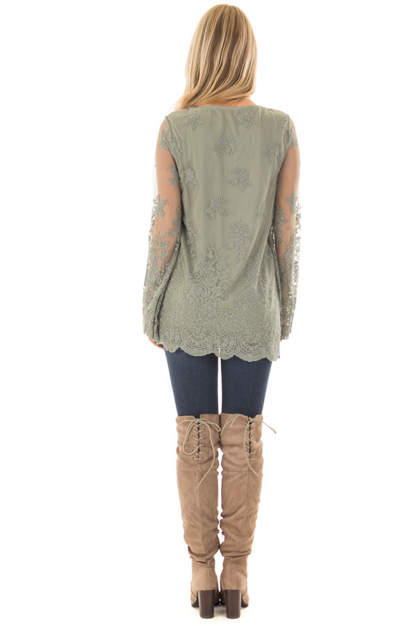 Sage Blouse with Sheer Lace Sleeves back full body