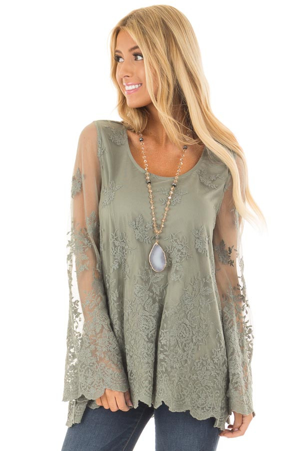 Sage Blouse with Sheer Lace Sleeves front close up