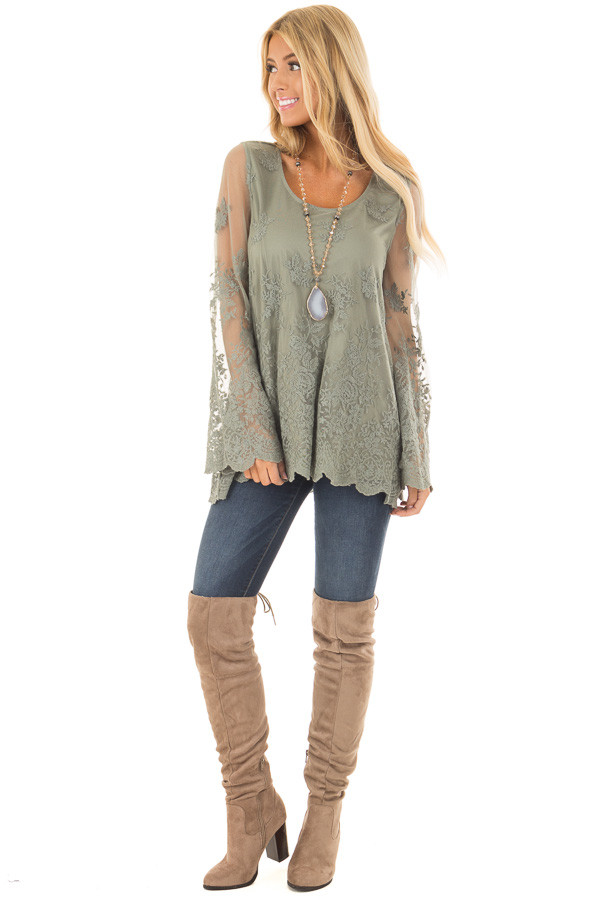 Sage Blouse with Sheer Lace Sleeves front full body