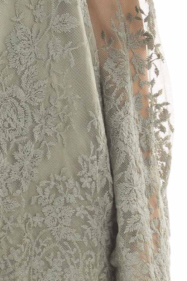 Sage Blouse with Sheer Lace Sleeves detail