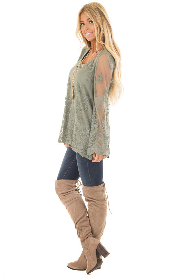Sage Blouse with Sheer Lace Sleeves side full body
