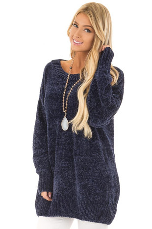 Twilight Navy Super Soft Tunic Sweater front close up