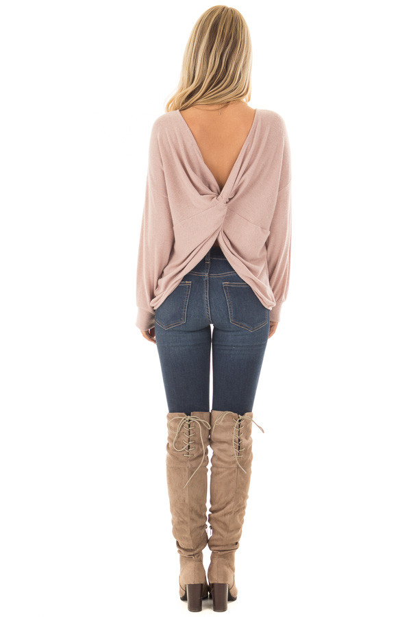 Dusty Pink Sweater with Back Twist Detail back full body