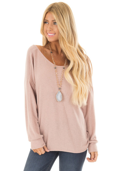 Dusty Pink Sweater with Back Twist Detail front close up