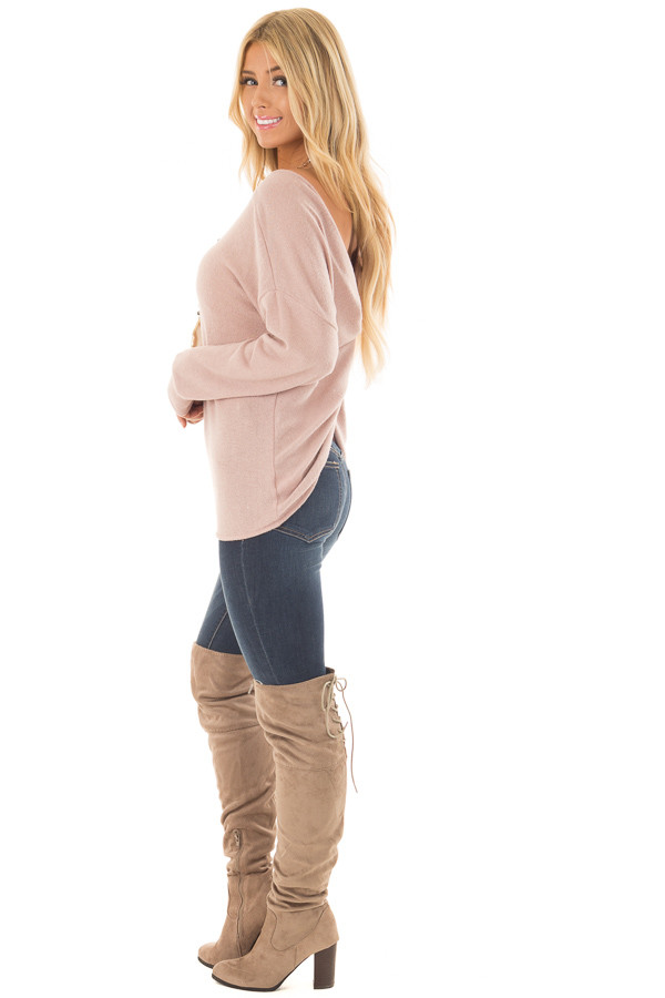 Dusty Pink Sweater with Back Twist Detail side full body