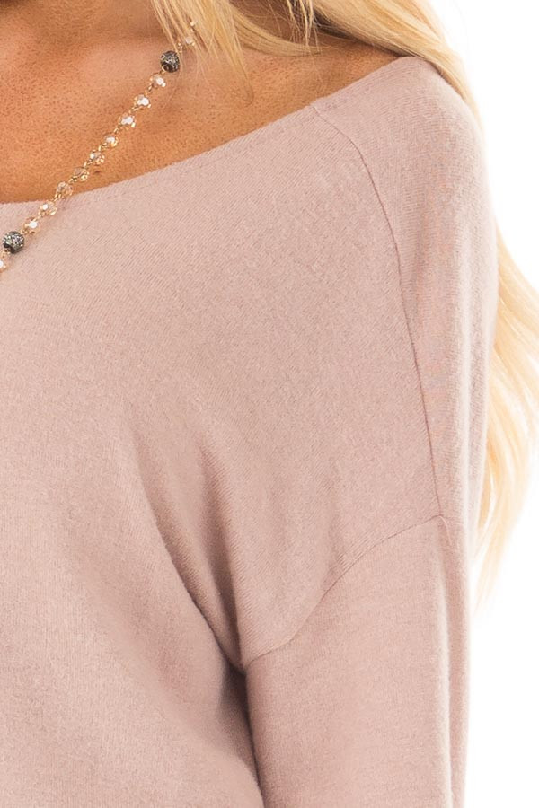 Dusty Pink Sweater with Back Twist Detail detail