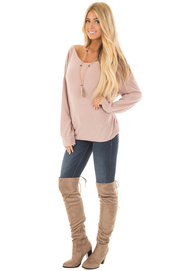 Dusty Pink Sweater with Back Twist Detail - Lime Lush Boutique
