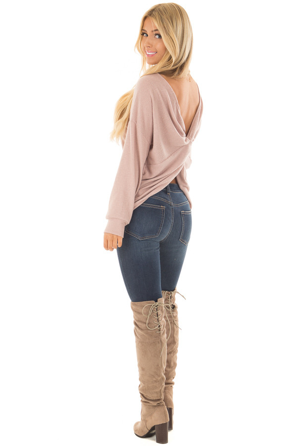 Dusty Pink Sweater with Back Twist Detail back side full body