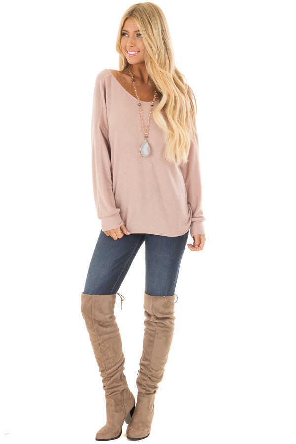 Dusty Pink Sweater with Back Twist Detail front full body
