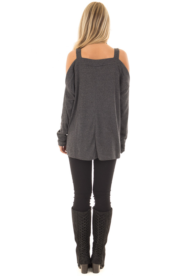 Charcoal Cold Shoulder Long Sleeve Top back full body