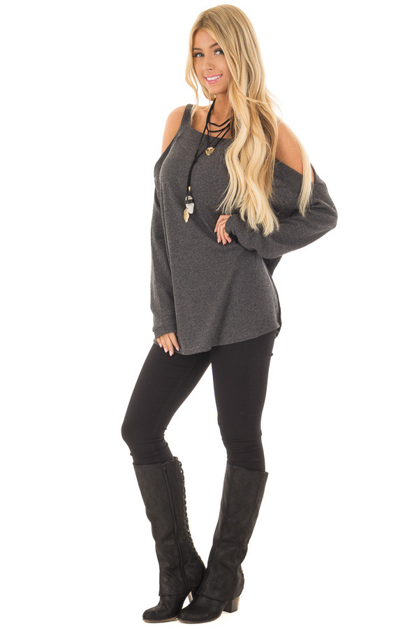 Charcoal Cold Shoulder Long Sleeve Top front full body