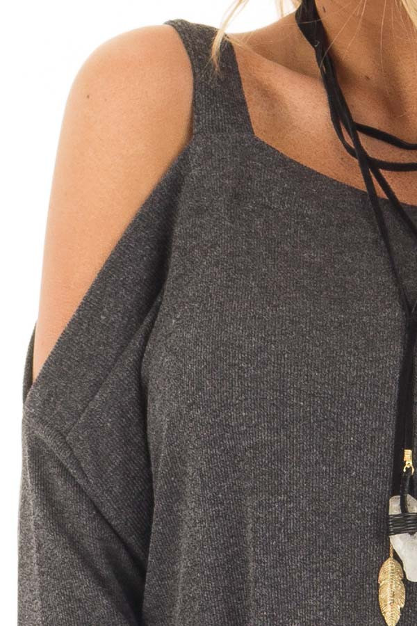 Charcoal Cold Shoulder Long Sleeve Top detail