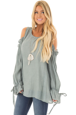 Stone Ruffle Cold Shoulder Top front close up