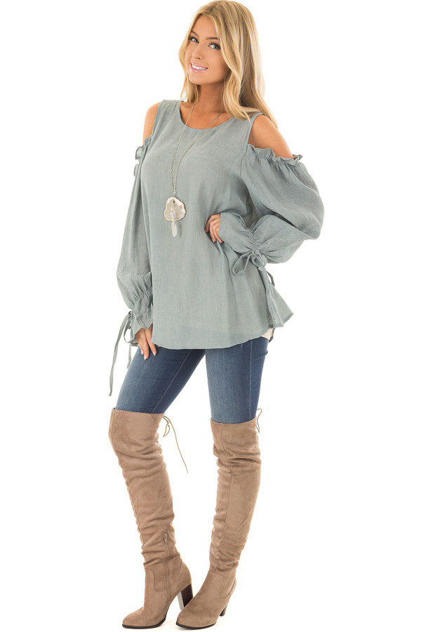 Stone Ruffle Cold Shoulder Top front full body