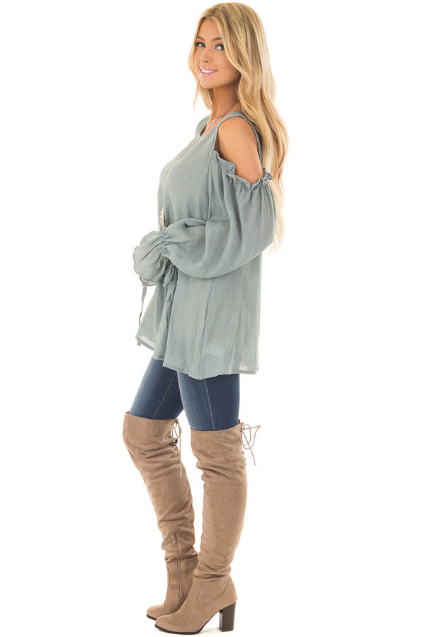 Stone Ruffle Cold Shoulder Top side full body