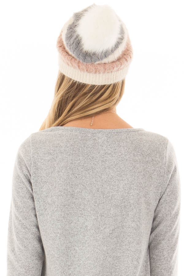 Dusty Rose Color Block Beanie with Pom Pom back view