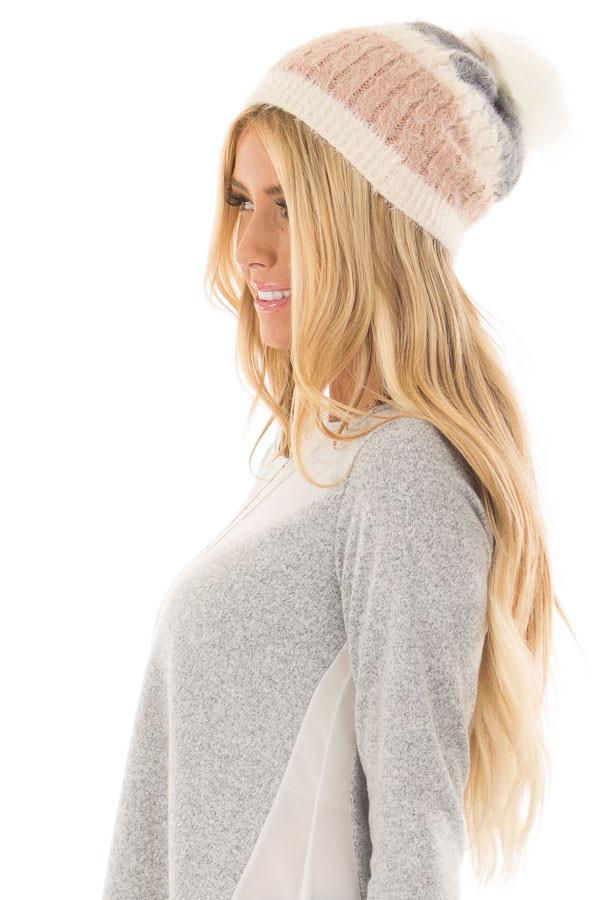 Dusty Rose Color Block Beanie with Pom Pom side view