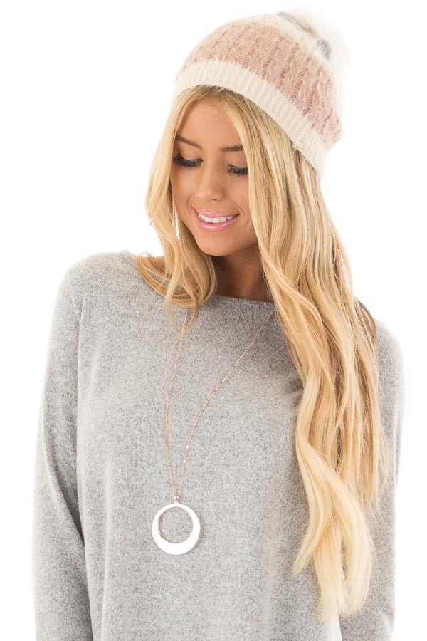 Dusty Rose Color Block Beanie with Pom Pom front view