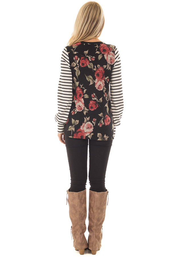 Black Floral Print Top with Stripe Contrast back full body