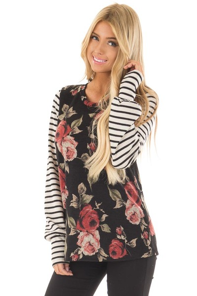 Black Floral Print Top with Stripe Contrast front close up