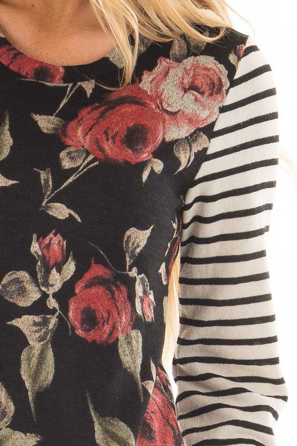 Black Floral Print Top with Stripe Contrast detail