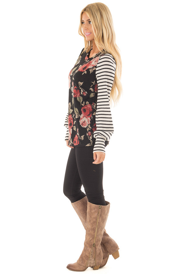 Black Floral Print Top with Stripe Contrast side full body