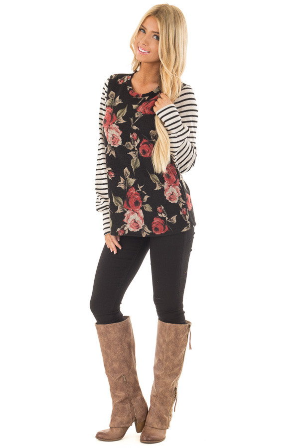 Black Floral Print Top with Stripe Contrast front full body