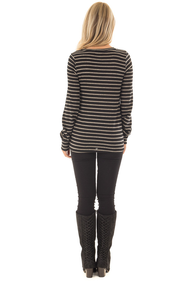 Black and Taupe Striped Long Sleeve Top back full body
