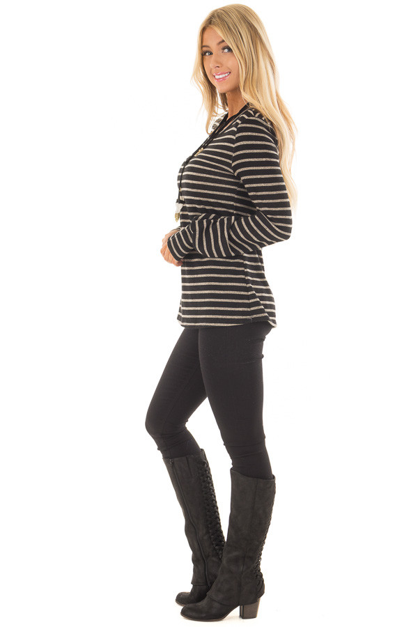 Black and Taupe Striped Long Sleeve Top side full body