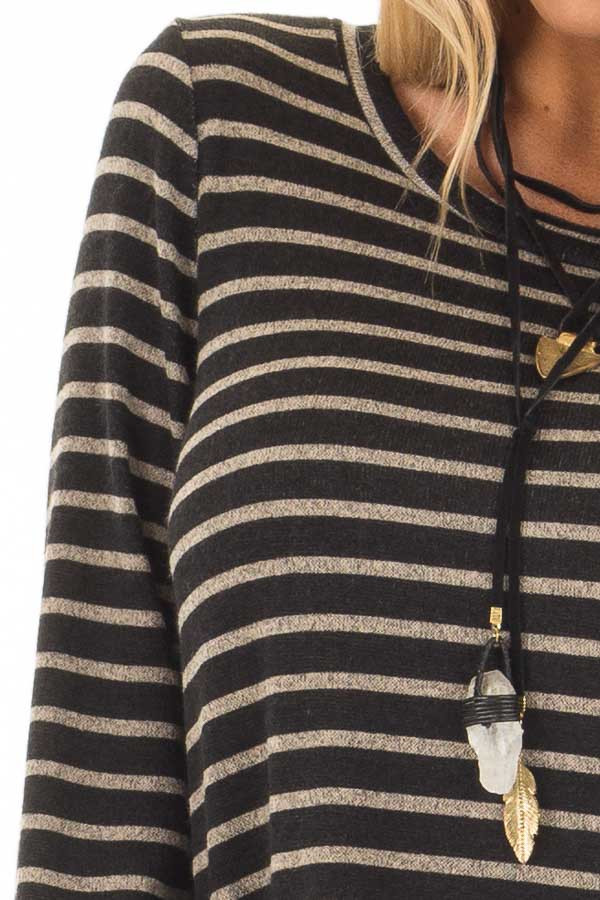 Black and Taupe Striped Long Sleeve Top detail