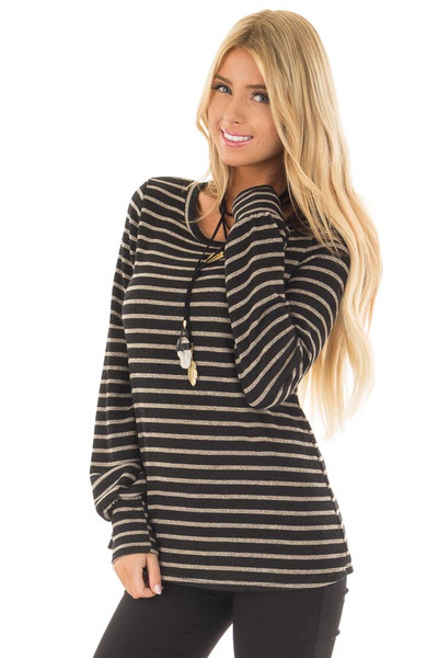 Black and Taupe Striped Long Sleeve Top front close up