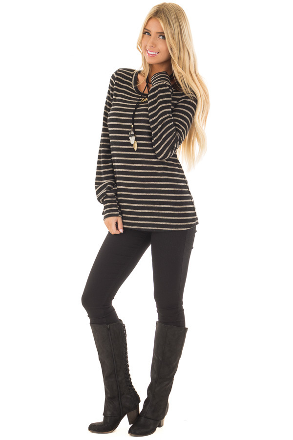 Black and Taupe Striped Long Sleeve Top front full body