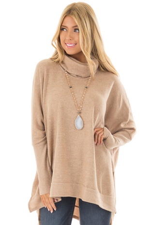 Taupe Cowl Neck Hi Low Tunic Sweater front close up