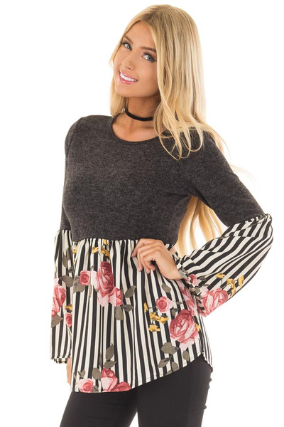 Charcoal Soft Top with Striped Floral Contrast front close up