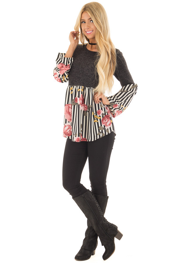 Charcoal Soft Top with Striped Floral Contrast front full body