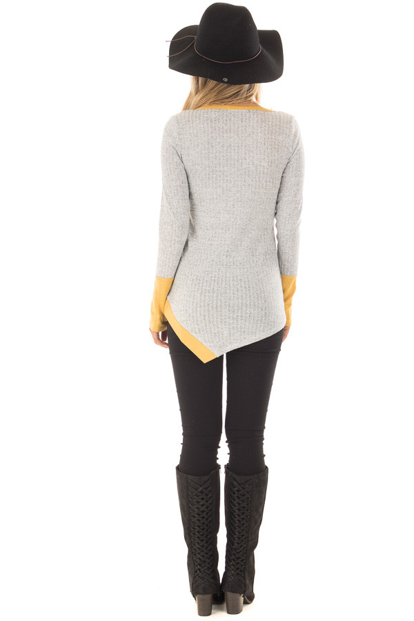 Grey Ribbed Knit Top with Mustard Details back full body