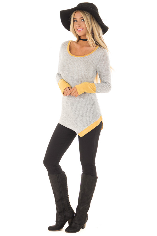 Grey Ribbed Knit Top with Mustard Details front full body