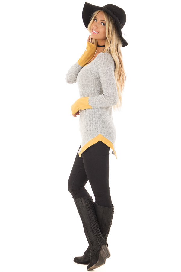 Grey Ribbed Knit Top with Mustard Details side full body
