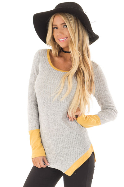 Grey Ribbed Knit Top with Mustard Details front close up