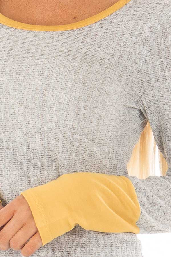 Grey Ribbed Knit Top with Mustard Details detail