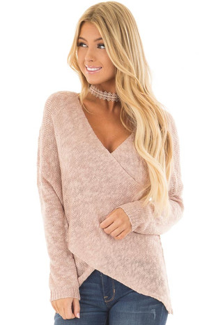 Blush Cross Over Wrap Sweater front close up