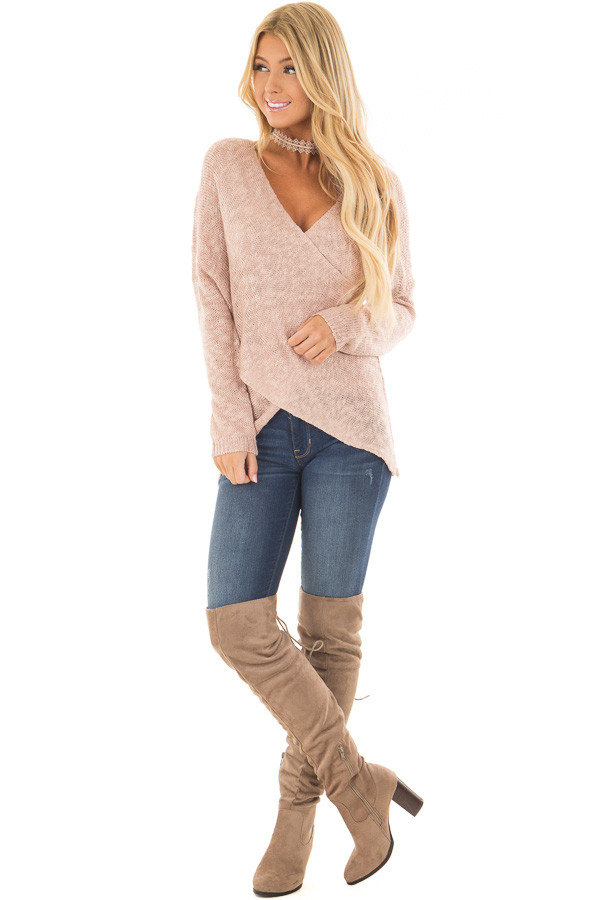 Blush Cross Over Wrap Sweater front full body