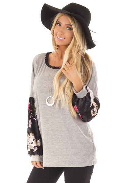 Heather Grey Top with Black Floral Print Velvet Contrast front close up