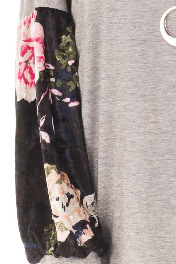 Heather Grey Top with Black Floral Print Velvet Contrast detail